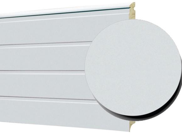 Porte sectionelle 1-rainure texture lisse blanc
