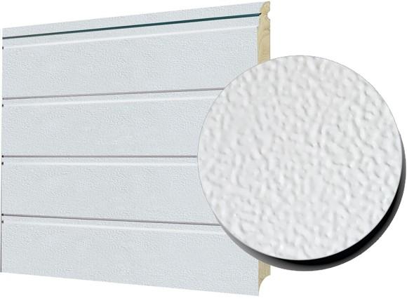 Porte sectionelle 1-rainure texture granuleux blanc